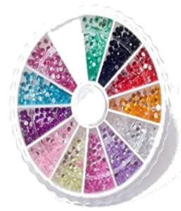 Nail Art MoYou Rhinestone Pack of 1200 Crystal Premium Quality 2mm Gemstones in 12 different colors, beauty accessory for women nails, fun and easy to apply with top coat or nail glue!