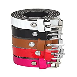 Sorella'z Combo of Five Thin Girl's Belt - Style Two (White, Red, Black, Hot Pink, Brown)