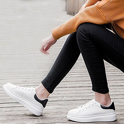 Spritech(TM) Men Women Unisex Fashion PU Leather Lace Up Lovers Casual Flat Sneaker Shoes White and Black 38