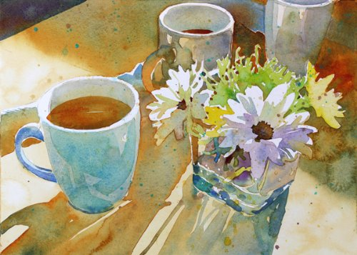 Mugs And Mums At Blu' Island, Title Of A Giclee Print Of Watercolor Painting, Still Life With A Cup Of Coffee And A Little Bouquet Of Chrysanthemums, 9 X 12 Inches