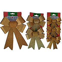 Christmas Decoration Holiday Glitter Bows- Red, Green & Gold (Gold)