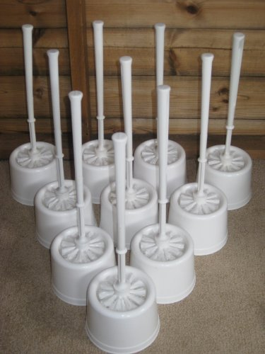 White Plastic Toilet Brush And Holders Pack Of 10