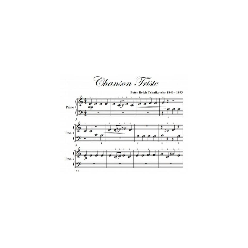 Chanson Triste Tchaikovsky Easiest Beginner Piano Sheet