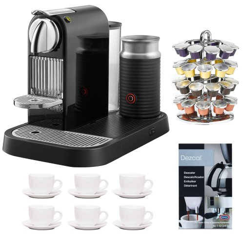 Nespresso D121-US-BK-NE1 Citiz Espresso Maker with Aeroccino Milk Frother, Black + 6-Pieces Espresso Cup and Saucer + Accessory Kit