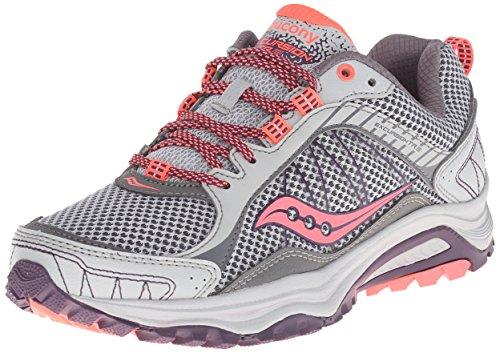 Saucony Women's Grid Excursion TR9 Trail Running Shoe, Grey/Plum, 8 W US