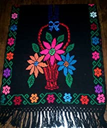 Beautifully Hand Made Mexican Poncho Cross Stitch Rebozo Shawl