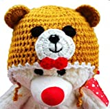 LadyMYP Handmade Knitted cap Baby cap Childrens Hat Hats 100 Wool Hat Bear