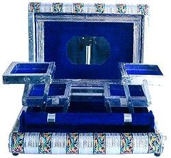 Little India Colorful Metal Meenakari Work Jewelry Box (Silver,HCF174)