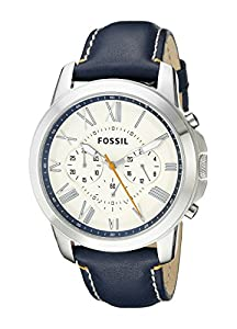 Fossil Men's FS4925 Grant Chronograph Stainless Steel Watch with Dark Blue Leather Band