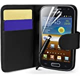 Supergets® Samsung Galaxy Ace 2 I8160 Wallet Side Flip Case Covers Screen Protector And Polishing Cloth Black