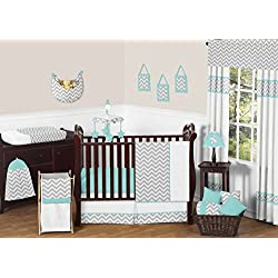 Gray and Turquoise Chevron Zig Zag Gender Neutral Baby Bedding 11 pc Boy or Girl Crib Set without bumper