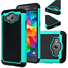 buy Grand Prime Case Cover , Galaxy Grand Prime Case, E Lv Samsung Galaxy Grand Prime Case Full Body Hybrid Armor Protection Defender Case Cover - Dual Layer Armor Protective Case Cover For Samsung Galaxy Grand Prime - Teal