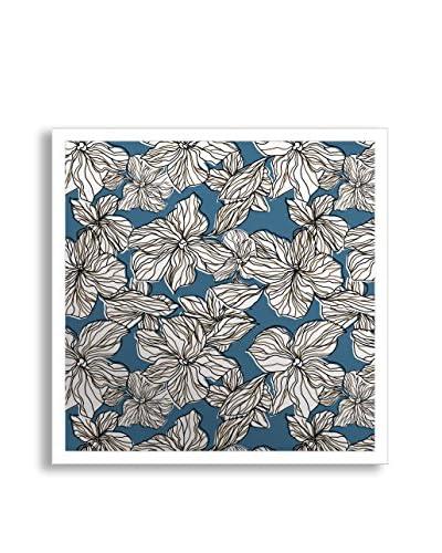 Gallery Direct Blue Flourish I Print on Mirror, Multi, 16 x 16