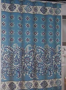 Blue And White Floral Paisley Cotton Shower Curtain By Cynthia Rowley