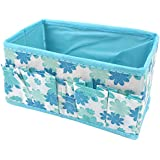 Kobwa(TM) Sky Blue Makeup Cosmetic Storage Box Bag Organiser Foldable Makeup Stationary Container With Kobwa's Keyring