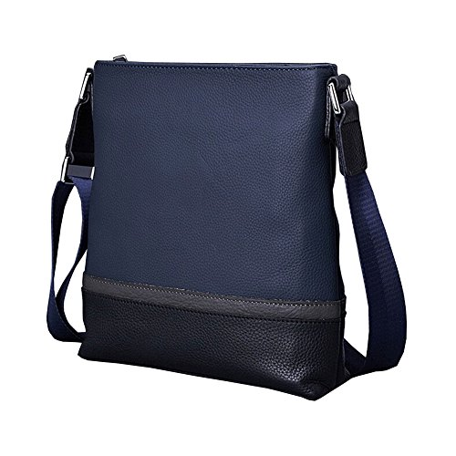 Finplus New Hit-Color Full Grain Leather Shoulder Bags For Men Blue+Black