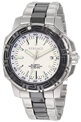 Versace Men's 15A99D001 S099 Diver Automatic Steel and Black PVD Bracelet Divers White Watch