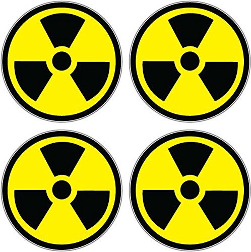 Radiation Nuclear Symbol Sheet of 4 - Window Bumper Sticker (Radiation Sticker compare prices)