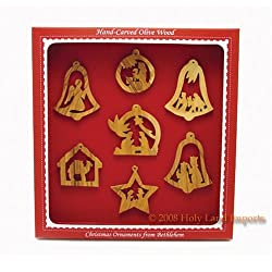 Olive Wood Christmas Ornaments- Set of 7- Nativity Story