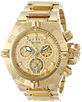 Invicta Men's 14497 Subaqua Chronograph Gold Textured Dial 18k Gold Ion-Plated Stainless Steel Watch