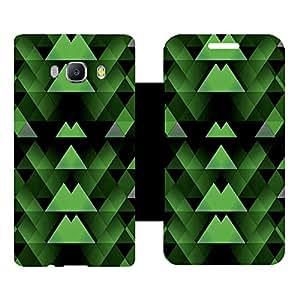 Skintice Designer Flip Cover with Vinyl wrap-around for Samsung Galxy J510 (2016), Design - Green Geometric