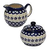 Polish Pottery Sugar Bowl and Creamer