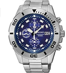 Seiko SNDD97 Mens Chronograph Stainless Steel and Bracelet Blue Tone Dial Date Display Watch