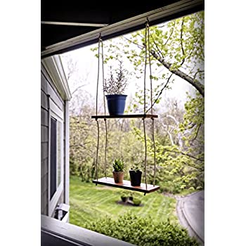 """Rustic Farmhouse Wood Hanging 17"""" Distressed Wall Shelf (Set of 2) - Floating Shelves With Rope and Mounting Hardware – MADE IN USA - Modern Country Decor For Plant Display, Office, Organization"""