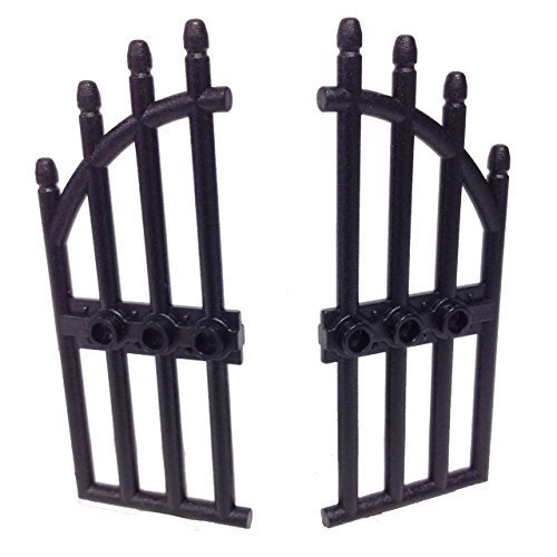 Lego Parts: Door 1 x 4 x 9 Arched Gate with Bars and Three Studs (Right & Left - Black)
