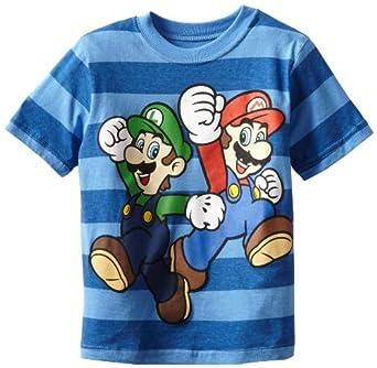 Nintendo Little Boys' Mario And Luigi Short Sleeve Tee, Royal, 7
