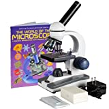 AmScope M150C-PB10-WM Compound Monocular Microscope, WF10x and WF25x Eyepieces, 40x-1000x Magnification, LED Illumination, Brightfield, Single-Lens Condenser, Coaxial Coarse and Fine Focus, Plain Stage, 110V, Includes 5 Blank Slides, 5 Prepared Slides, an