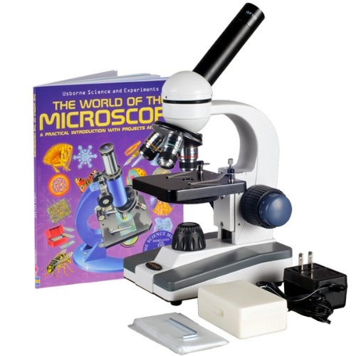 Amscope M150C-Ps25-Wm Compound Monocular Microscope, Wf10X And Wf25X Eyepieces, 40X-1000X Magnification, Led Illumination, Brightfield, Single-Lens Condenser, Coaxial Coarse And Fine Focus, Plain Stage, 110V, Includes Set Of 25 Prepared Slides And Book