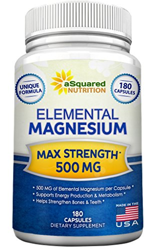 Elemental Magnesium Supplement - 180 Veggie Capsules - Max Strength Magnesium Citrate & Oxide 500 mg Formula, Mag Tablet Pills for Sleep & Vitamin Deficiency, Natural Calm Complex for Women & Men (Msm 900 compare prices)