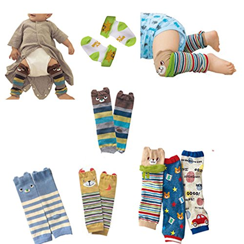 Lucky staryuan ® Black Friday Set of 6 Combed Cotton Baby Cartoon Bear Kneepads Leg Protector Warmer (boy pattern)