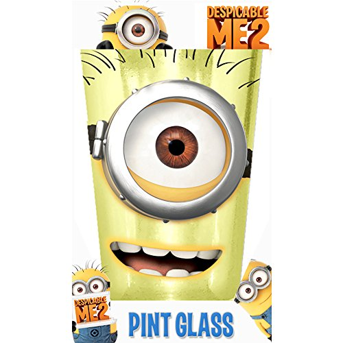 Silver Buffalo DM22031P Despicable Me One-Eyed Colored Glass Single Boxed Pint, 16-Ounce, Yellow - 1