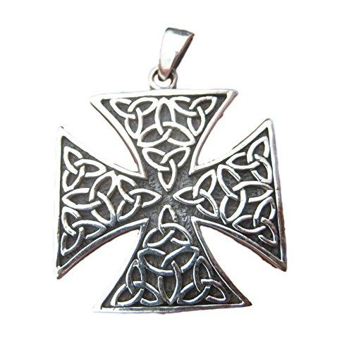 925 celtica croce di ferro Cavaliere Kinghts della collana del pendente Templar 925 Silver Knights Templar Iron Cross Pendant Necklace