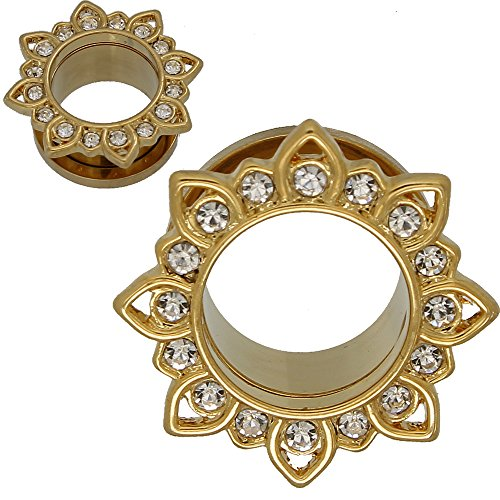 SoScene Gold Plated Stainless Steel Crystal Gems Flower Screw Back Ear Plugs Gauges Sold in Pairs (10MM-00 GAUGE ) (Gold Ear Plugs compare prices)