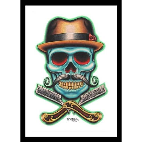 Amazon.com: Barber Skull by Tyler Bredeweg Tattoo Skull and Crossbones