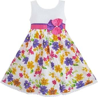Amazon.com: Sunny Fashion Girls Dress Purple Pink Sundress Bow Tie