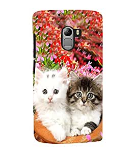 Fuson Premium Back Case Cover Cute cats in pot With Black Background Degined For Lenovo K4 Note