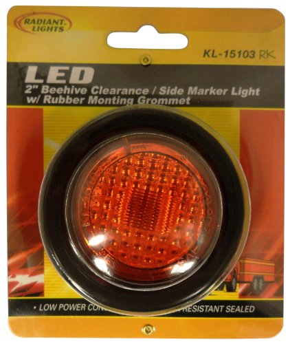 """Autosmart Kl-15103Rk Red 2"""" Round Led Clearance/Side Marker Light Kit With Light And Grommet"""