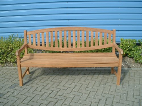 VERONA CURVED BACK 1.8 METRE (6 Foot) BENCH CONSTRUCTED FROM GRADE A SEASONED KILN DRIED INDONESIAN TEAK