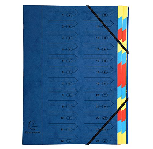 Exacompta cartellina in cartone manila, A4, 400g, rilegato con 24scomparti, Blu