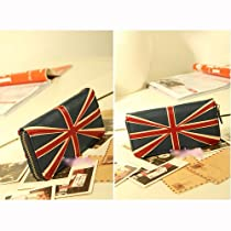 Shen Fashion Women British Style Union Jack PU Leather Zipper Wallet Card Bag Purse Handbag Clutch (Dark Blue)