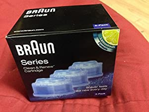 Braun CCR3 Mens Lemon Shaver Refill Cleaning Cartridges For Series 3 5 & 7 Pack of 3
