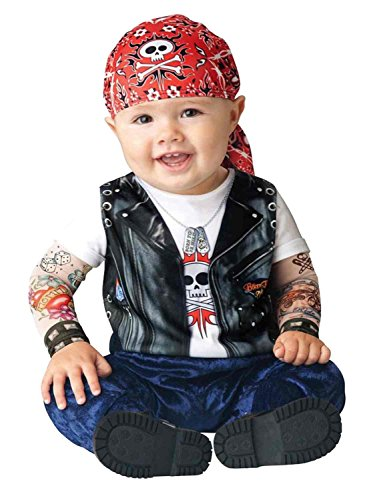 Boo Infant Boys & Girls Born to be Wild Biker Costume with Tattoo Sleeves 12-18M
