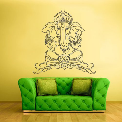 Wall Vinyl Sticker Decals Decor Art Bedroom Design Ganesh Lord India Indian Namaste Buddha God (Z2333) front-926248