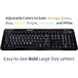 Ivation Seven Color Adjustable Letter Illuminated Large Print Full Size Multimedia Computer Keyboard - Gentle,...