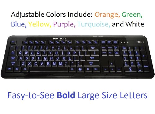 Ivation Seven Color Adjustable Letter Illuminated Large Print Full Size Multimedia Computer Keyboard - Gentle, Crisp & Clear Multi-Colored Led Lights Illuminate Each Key