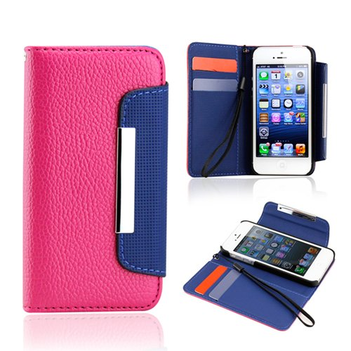 Hot Pink Blue Wallet PU Leather Card Holder Magnetic